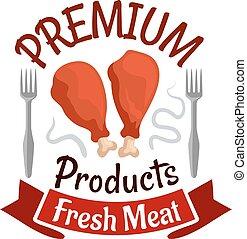 emblema, alimento, rápido, legs., pollo fresco, frito