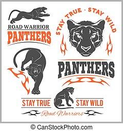 emblema, animal, marcar, pantera, adesivo, mockup, ilustração, símbolo, experiência., team., vetorial, pretas, modelo, head., imprimindo, branca, esportes, ou, logotipo