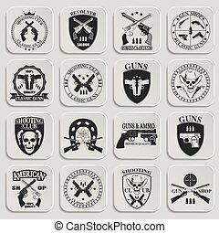 emblema, armas de fuego, clásico