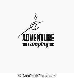emblema, aventura, acampamento