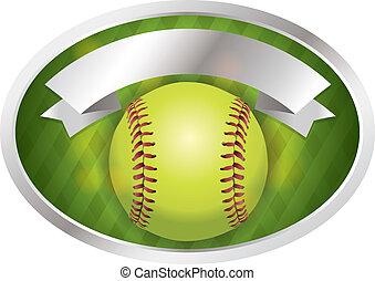 emblema, bandeira, ilustração, softball