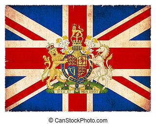 emblema, bandera, grande, grunge, gran bretaña