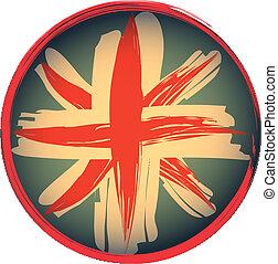 emblema, bandera, grunge, estilo, británico