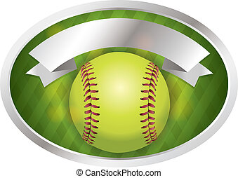 emblema, bandiera, illustrazione, softball