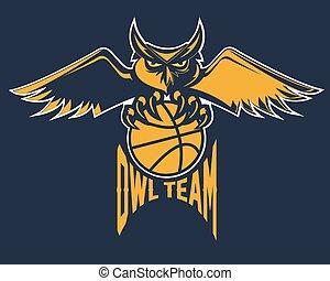 emblema, basquetebol, desporto, coruja, equipe