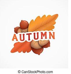 emblema, bolotas, amarelo sai, outono, vermelho, inscrição