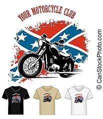 emblema, camisa, clube, bikers, modelo, garganta v