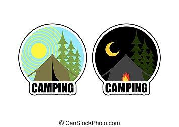 emblema, camp., campeggio, fuoco, sole, moon., giorno, forest., cabina, night., logotipo, alloggio, paesaggio, tenda