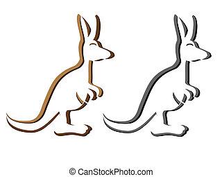 emblema, canguro, silhouette, logotype