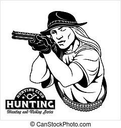 emblema, caza, -, objetivos, rifle, mujeres