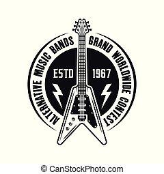 emblema, chitarra elettrica, vettore, musica, roccia