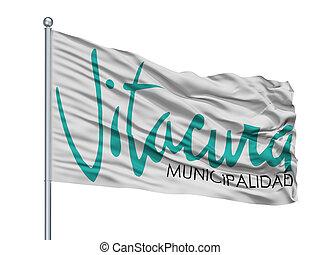 emblema, ciudad, aislado, vitacura, bandera, chile, asta, plano de fondo, blanco