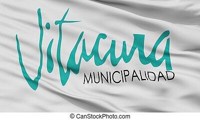 emblema, ciudad, bandera, vitacura, chile, primer plano, vista