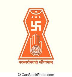 emblema, clipart, vector, jain, logotipo,  