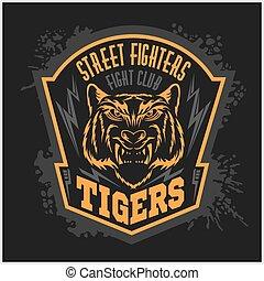 emblema, club, -, combattimento, scuro, fondo., combattenti,...