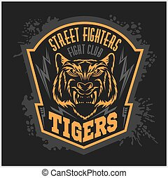 emblema, club, -, lucha, oscuridad, fondo., luchadores,...