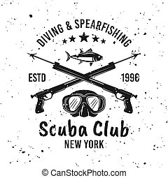 emblema, club, spearfishing, vector, buceo, escafandra autónoma