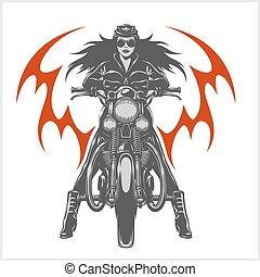 emblema, club, vendimia, garaje, motocicleta, motor, sexy, ...