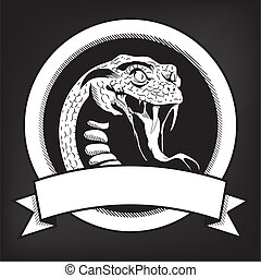 emblema, cobra, ilustração