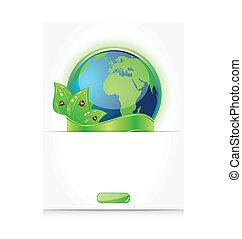 emblema, coccinelle, foglie, carta, terra verde