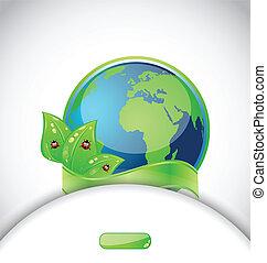 emblema, coccinelle, foglie, sfondo verde, terra