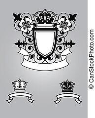 emblema, con, flores