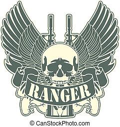 emblema, con, un, cráneo, y, el, arma