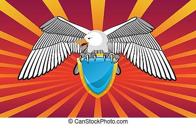 emblema, con, un, eagle.