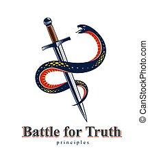 emblema, concetto, intorno, simbolo., antico, logotipo, vettore, vita, lotta, serpente, pugnale, serpente, vendemmia, tatuaggio, o, allegorico, spada, involucri