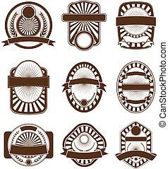 emblema, conjunto, cresta, etiqueta