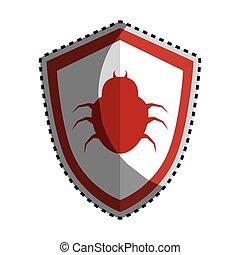 emblema, cor protetor, adesivo, vírus, besouro, silueta