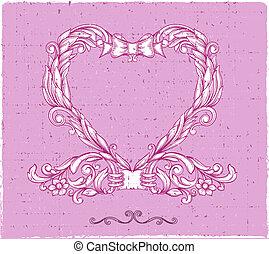 emblema, coração, ornamental