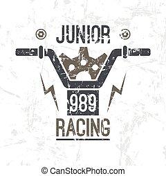 emblema, correndo motocicletta, minore