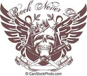 emblema, cráneo