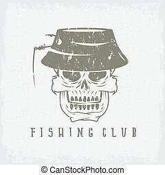 emblema, cráneo, club, panamá, pesca, grunge, sombrero