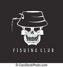 emblema, cráneo, club, panamá, sombrero pesquero