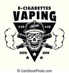 emblema, cranio, e-cigarettes, due, vettore, attraversato