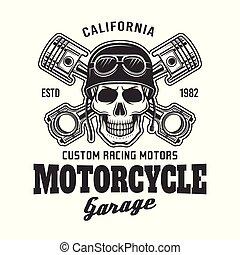 emblema, cranio, garagem, biker, vetorial, motocicleta