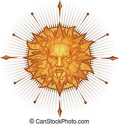 emblema, decorativo, sol