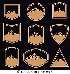 emblema, desenho, logotipo, montanhas, emblemas, style., sinal., etiqueta, elementos, jogo, dourado, vazio
