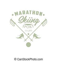 emblema, desenho, maratona, esquiando