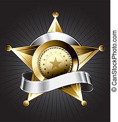 emblema, desenho, xerife
