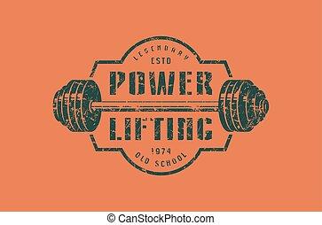 emblema, di, il, powerlifting, club