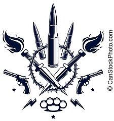 emblema, disegno, sociale, tumulto, rivoluzione, logotipo, criminale, pistole, differente, anarchico, guerriero, partigiano, guerra, pallottole, theme., stile, tensione, elementi, tatuaggio, vettore, lotti, o