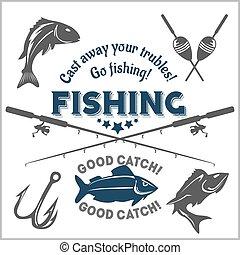 emblema, elementos, desenho, emblema, pesca
