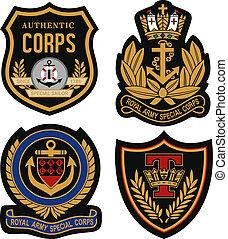 emblema, emblema, escudo, real