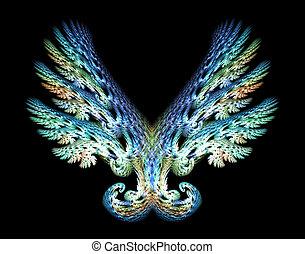 emblema, encima, negro, alas, ángel