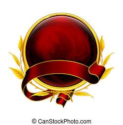 emblema, eps10, vermelho