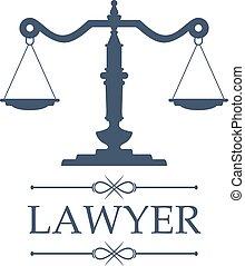 emblema, escalas, justicia, vector, abogado, icono