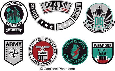 emblema, escudo, militar, emblema, logotipo